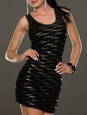 SeXy MiSS Damen Struktur Mini Kleid Edel Dress 34/36/38 schwarz bronze Metallic