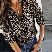 Womens Lepard Print Button V Neck Shirt Casual Long Sleeve Loose Blouse Tops AU