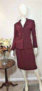 LE SUIT PETITE Maroon/Burgundy 2-Piece Skirt Suit-Size 10P