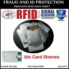 10 x RFID BLOCKING CARD IDENTITY THEFT PROTECTOR ANTI SCAN SKIM SLEEVE- AU STOCK