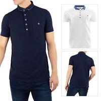 Brave Soul Mens Seaver Polo Shirt Designer Casual Denim Collar Summer Top