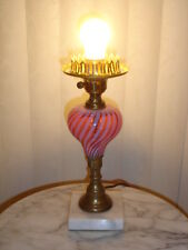FENTON OLD CRANBERRY SWIRL OPALESCENT GLASS PIANO LAMP, no shade