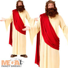 Jesus + Wig + Crown Mens Fancy Dress Christmas Easter Religious Adults Costume