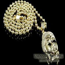 MEN NEW MINI BUDDHA 18K TRIPLE COAT YELLOW GOLD CROSS CHARM PENDANT CHAIN SET
