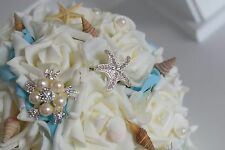 Bridal bouquet with Muscles and Strass, Beach wedding, for Wedding dress