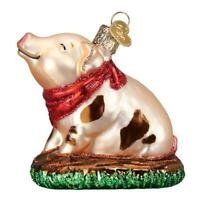 """Piggy in the Puddle"" (12535)X Old World Christmas Glass Ornament w/ OWC Box"