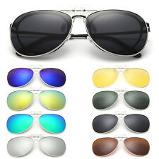 81d585a30c Clip-on Polarized Night Vision Aviator Sunglasses Flip-up Lens Driving  Glasses