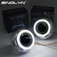 For H4 Car Headlight COB LED Angel Eyes Halo HID Bixenon Projector Lens 3.0 D2S