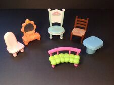 Lot (6) Dollhouse Chairs Table Vanity Barbie? Loving family?