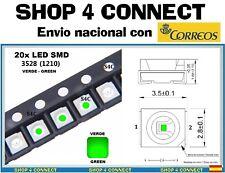 20 Diodos LED SMD VERDE GREEN 3528 / 1210 20ma CAR automocion ARDUINO 3.5 x 2.8