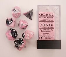 Chessex 7 Dice Set Gemini Black-Pink w/ White CHX 26430 for D&D & D20