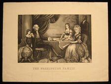 Original Currier & Ives Print Washington Family w/ Wily