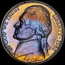 PCGS 1961 JEFFERSON 5 CENT PROOF PR66 CAM NICKEL GORGEOUS BLUE GOLD ORANGE TONED