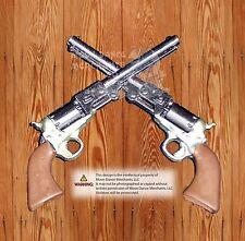 """Western Equestrian Tack Crossed 1861 Colt Revolver Pistols 1 1/2"""" Concho"""