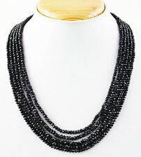 Black Spinel 335.00 Cts Natural 5 Strand Round Shape Faceted Beads Necklace