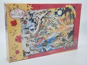 Jigsaw Puzzle 1500 pc Serendipity Moonlight Forest Asian painting art water bird