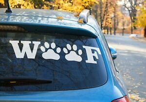 WOOF Dog Paws for dog lovers Decal Sticker Car Window Laptop AUS MADE 9 COLORS