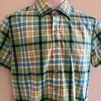 Robert Graham X Check Print Shirt Short Sleeve Button Down Small Green blue