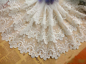 Fabric By The Yard OrangeBlueMist Floral Embroidered Tulle
