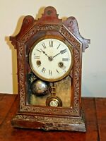 Antique 19th Century Oak American Mantel Clock with Chime Bell Pendulum Key Time