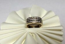 MARCA NEW 14 Quilates Oro Amarillo 3-row Diamante Original Mujer ANILLO DE BANDA