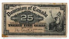 Dominion of Canada 1900 25 Cents Shinplaster Courtney Signature Fine+