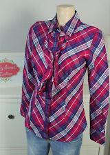 TOMMY HILFIGER Bluse Rüschen Kariert Blau Pink Weiß Gr. S 36 (DE170)