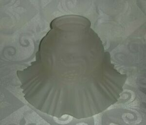 "Frosted Glass Chimney Lamp Light Chandelier Globe Shade Ruffled Edges 2"" fitter"