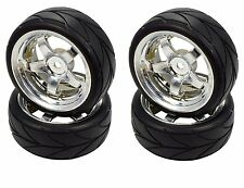 Apex RC Products 1/10 On-Road Chrome 5 Spoke Wheels / V Tread Tires #5005