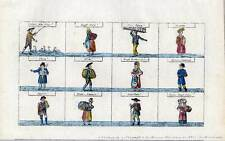 Kaufrufe-Ausrufe-Berufe Altkol. Lithographien bei Renner 1835 Bilderbogen selten
