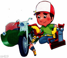 """5"""" DISNEY HANDY MANNY MOTORCYCLE TOOLS CHARACTER FABRIC APPLIQUE IRON ON"""