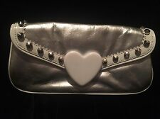 Betsy Johnson Clutch Silver Purse With White Heart Bag Studs