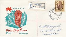BD472) Australia 1960 Banksia Plant orange and turquoise cachet Royal FDC