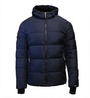 Superdry Mens New Sports Puffer Padded Jacket Winter Coat Fleece Lined Navy Blue