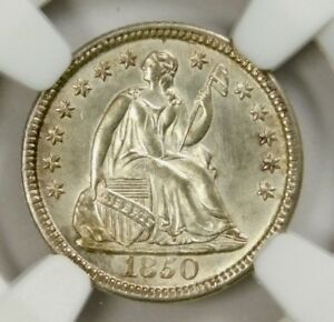 NGC MS64 1850 SEATED HALF DIME