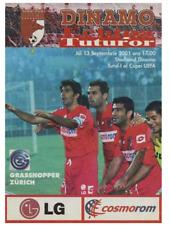 Programme Dynamo Bucharest Romania - Grasshoppers Zurich Switzer 2001 UEFA CUP