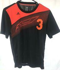 Adidas Mens Black Orange Number 3 Jersey Team T-Shirt Size S