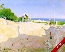 SITGES SPAIN SPANISH BEACH MEDITERRANEAN LANDSCAPE PAINTING ART CANVAS PRINT