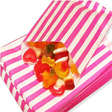 "100 PINK CANDY STRIPE PAPER PARTY GIFT SWEET BAGS 5"" x 7"" - CANDY CART WEDDING"