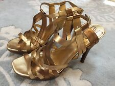Diane Von Furstenberg Gold Bronze Metallic Strappy Stiletto Heels Sandals 10 EUC