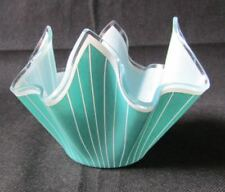 1960s Retro Turquoise White Stripe Cordon Handkerchief Hankie Glass Vase Chance