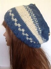 Hand Knit Hat Beanie Beret Slouch Tam Designer Fashion Denim Jeans Blue Hip Hot