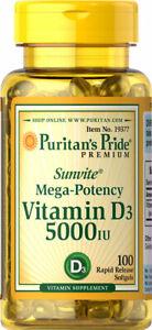 Puritan's Pride Mega-Potency Vitamin D3 5000IU - 100 Softgels