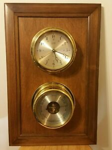 Salem Brass Ships Clock/Barometer Wall Mount Combo German/Switzerland