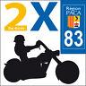 2 stickers autocollants style plaque immatriculation moto Département  83