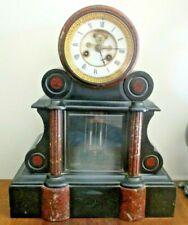 Ancienne Horloge pendule de notaire à mercure marbre noir Napoléon III parfaite
