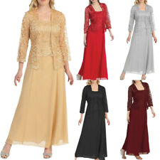 Women O Neck Long Sleeve Long Lace Formal Plus Size Maxi Coat+Dress Two Piece
