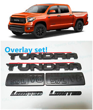 6PCS SET BLACKOUT EMBLEMS OVERLAY KIT FIT FOR 2014-2020 TOYOTA TUNDRA LIMITED V8