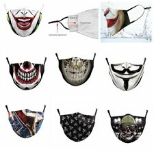 NEW Mouth Face Mask Anti Dust Washable Adult Reusable Joker Skull Rose Teeth