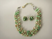 Vintage Green Glass Beads Necklace Earrings Triple Strand Faux Pearl Jewelry Set